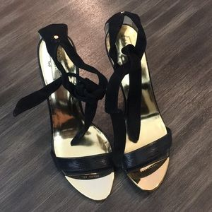Beautiful black lace-up Ted Baker heels